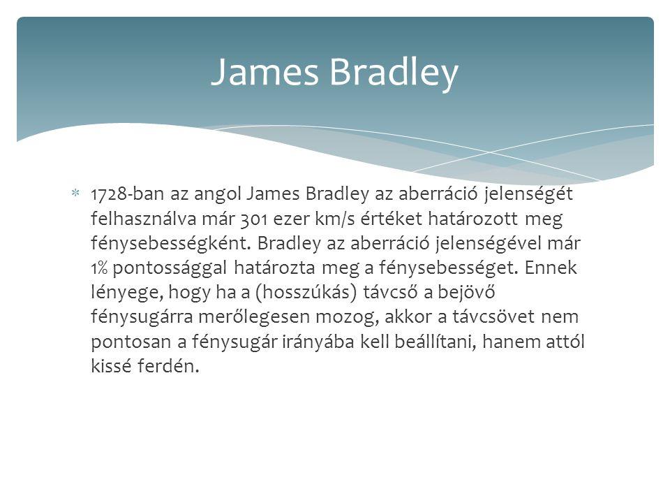  1728-ban az angol James Bradley az aberráció jelenségét felhasználva már 301 ezer km/s értéket határozott meg fénysebességként. Bradley az aberráció