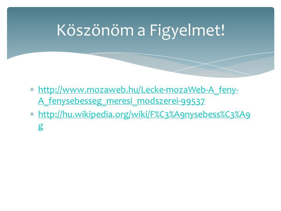  http://www.mozaweb.hu/Lecke-mozaWeb-A_feny- A_fenysebesseg_meresi_modszerei-99537 http://www.mozaweb.hu/Lecke-mozaWeb-A_feny- A_fenysebesseg_meresi_modszerei-99537  http://hu.wikipedia.org/wiki/F%C3%A9nysebess%C3%A9 g http://hu.wikipedia.org/wiki/F%C3%A9nysebess%C3%A9 g Köszönöm a Figyelmet!