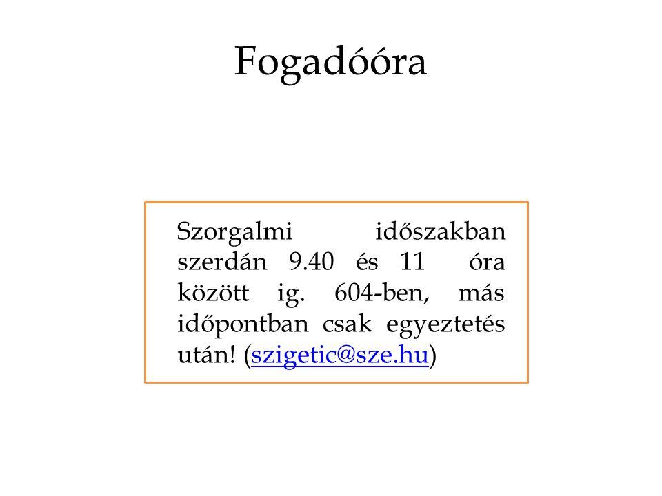 Fogadóóra Szorgalmi időszakban szerdán 9.40 és 11 óra között ig.