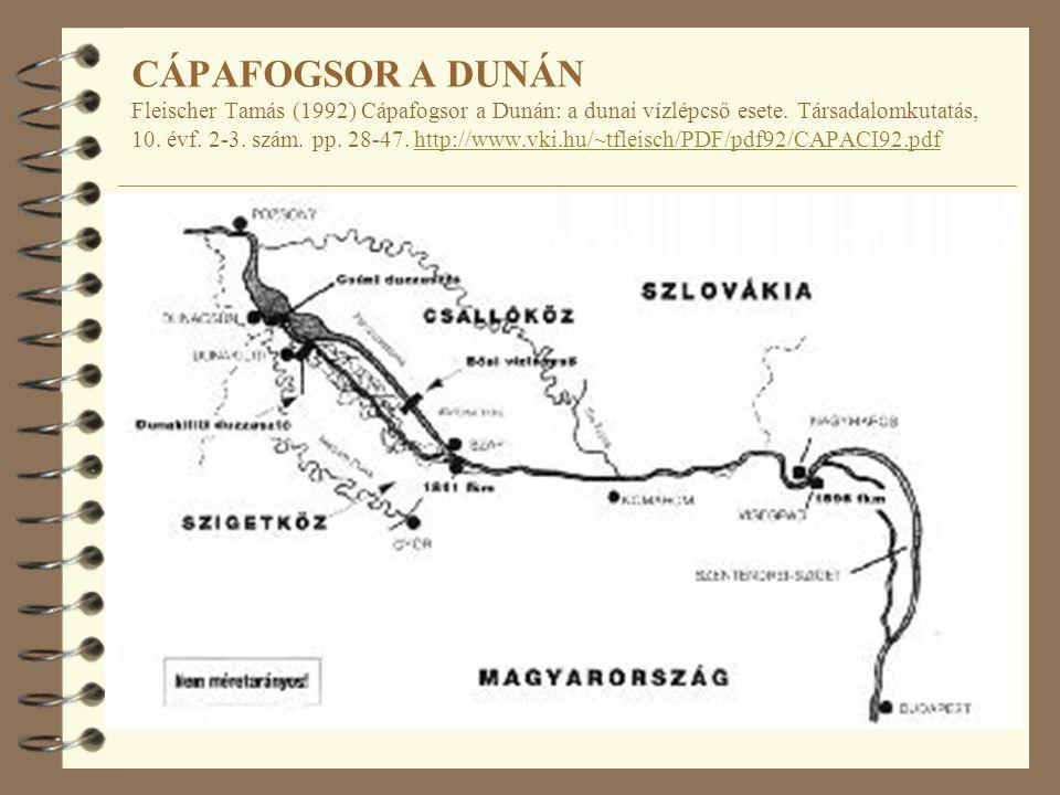 CÁPAFOGSOR A DUNÁN Fleischer Tamás (1992) Cápafogsor a Dunán: a dunai vízlépcső esete.
