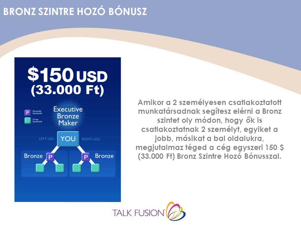 BRONZ SZINTRE HOZÓ BÓNUSZ Amikor a 2 személyesen csatlakoztatott munkatársadnak segítesz elérni a Bronz szintet oly módon, hogy ők is csatlakoztatnak 2 személyt, egyiket a jobb, másikat a bal oldalukra, megjutalmaz téged a cég egyszeri 150 $ (33.000 Ft) Bronz Szintre Hozó Bónusszal.