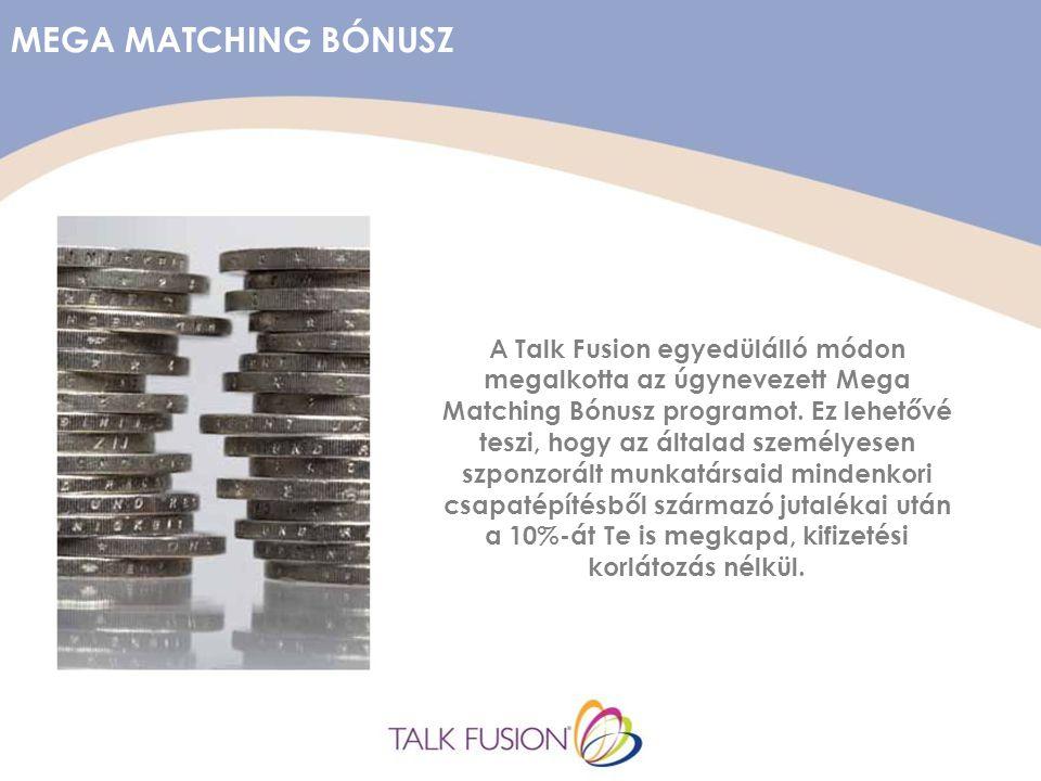 MEGA MATCHING BÓNUSZ A Talk Fusion egyedülálló módon megalkotta az úgynevezett Mega Matching Bónusz programot.
