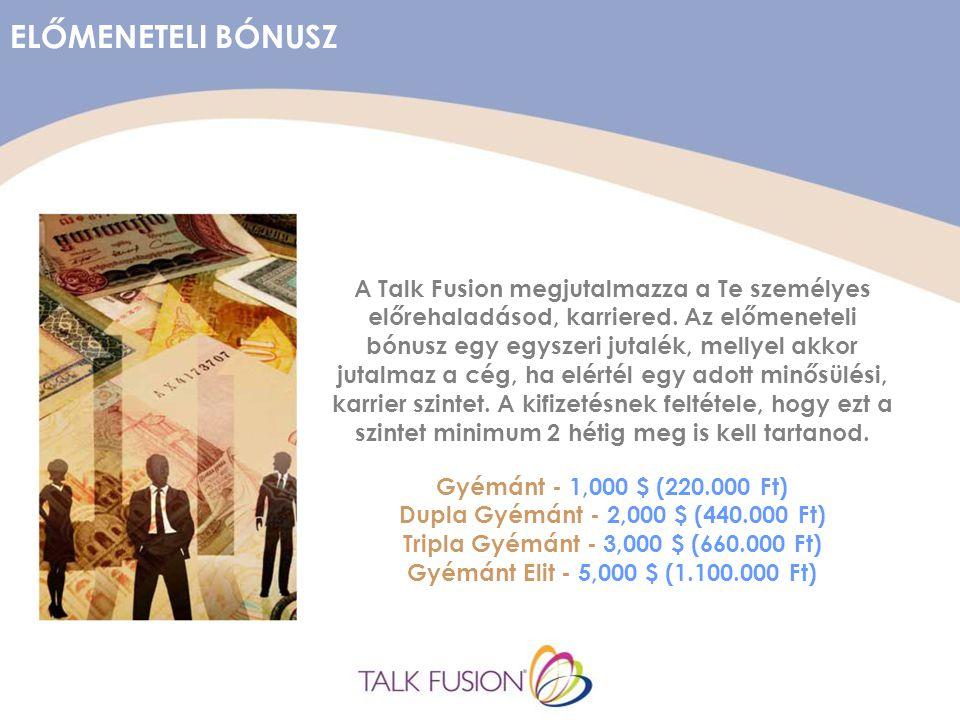 ELŐMENETELI BÓNUSZ A Talk Fusion megjutalmazza a Te személyes előrehaladásod, karriered.