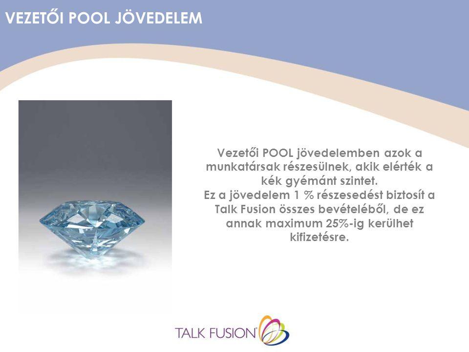 VEZETŐI POOL JÖVEDELEM Vezetői POOL jövedelemben azok a munkatársak részesülnek, akik elérték a kék gyémánt szintet.