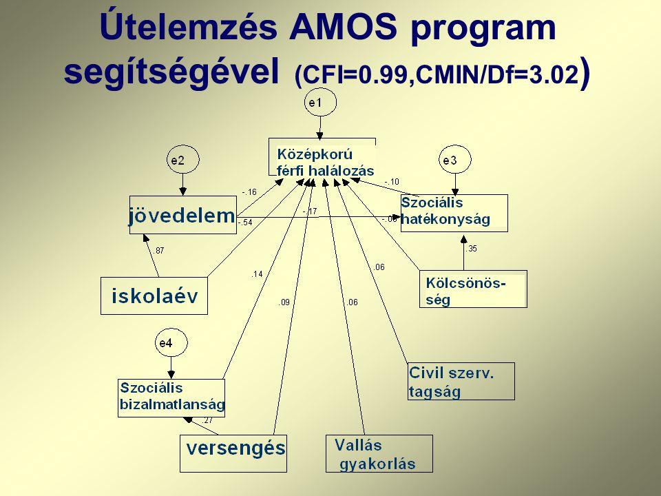 Útelemzés AMOS program segítségével (CFI=0.99,CMIN/Df=3.02 )