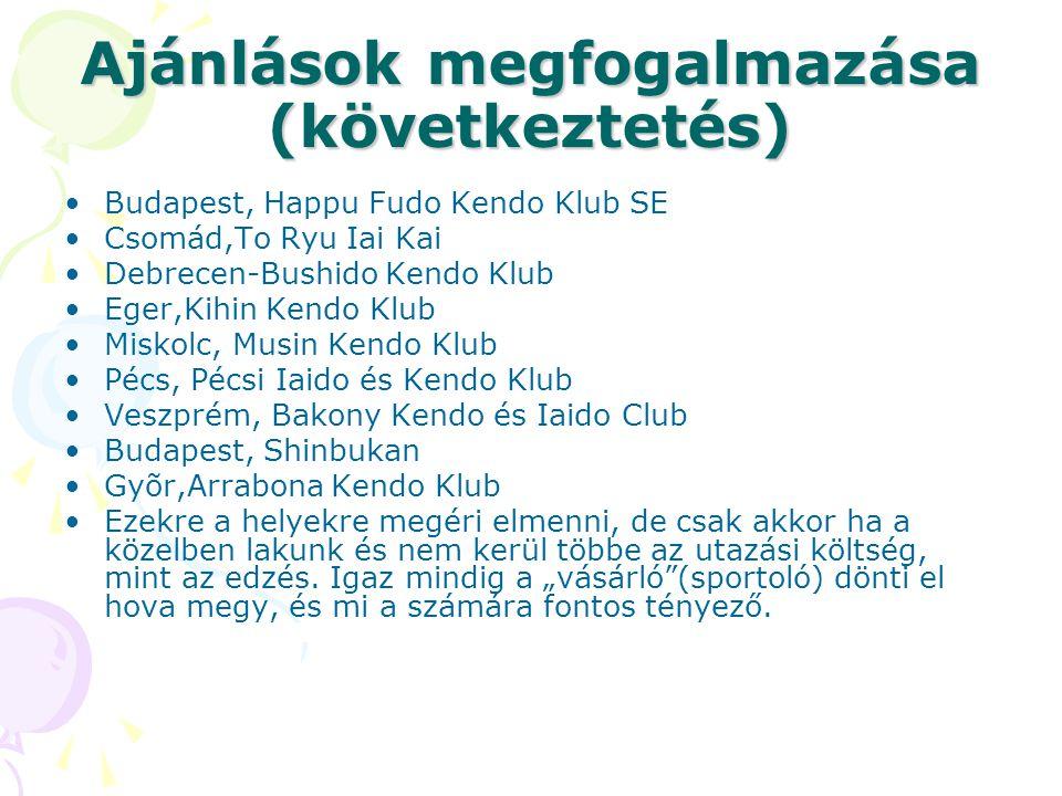 Ajánlások megfogalmazása (következtetés) Budapest, Happu Fudo Kendo Klub SE Csomád,To Ryu Iai Kai Debrecen-Bushido Kendo Klub Eger,Kihin Kendo Klub Mi