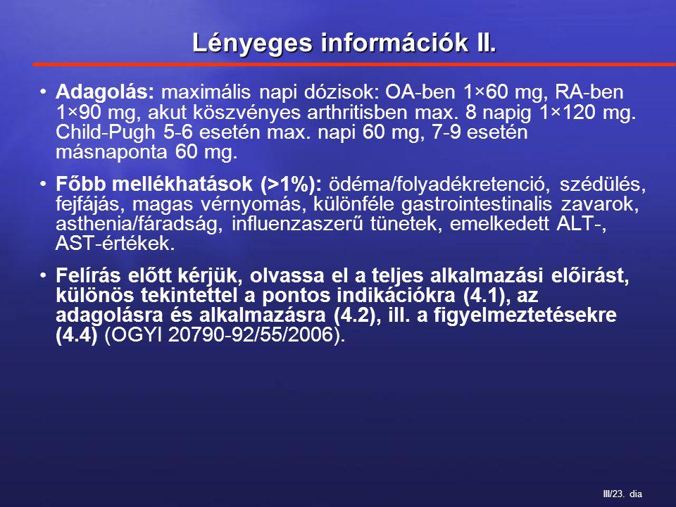 III/23. dia Lényeges információk II. Adagolás: maximális napi dózisok: OA-ben 1×60 mg, RA-ben 1×90 mg, akut köszvényes arthritisben max. 8 napig 1×120