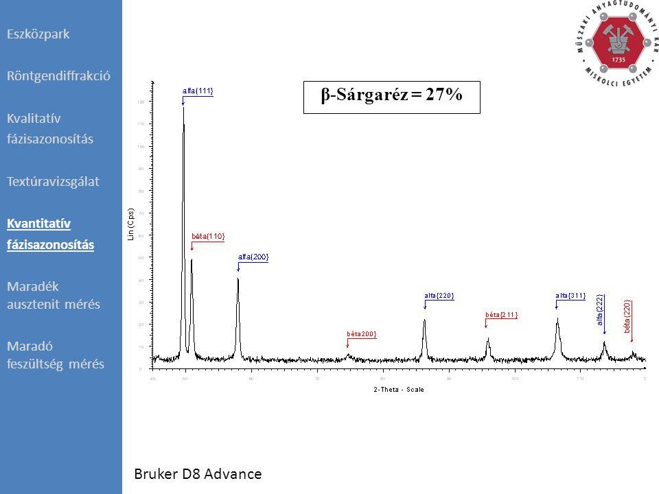 Eszközpark Röntgendiffrakció Kvalitatív fázisazonosítás Textúravizsgálat Kvantitatív fázisazonosítás Maradék ausztenit mérés Maradó feszültség mérés β