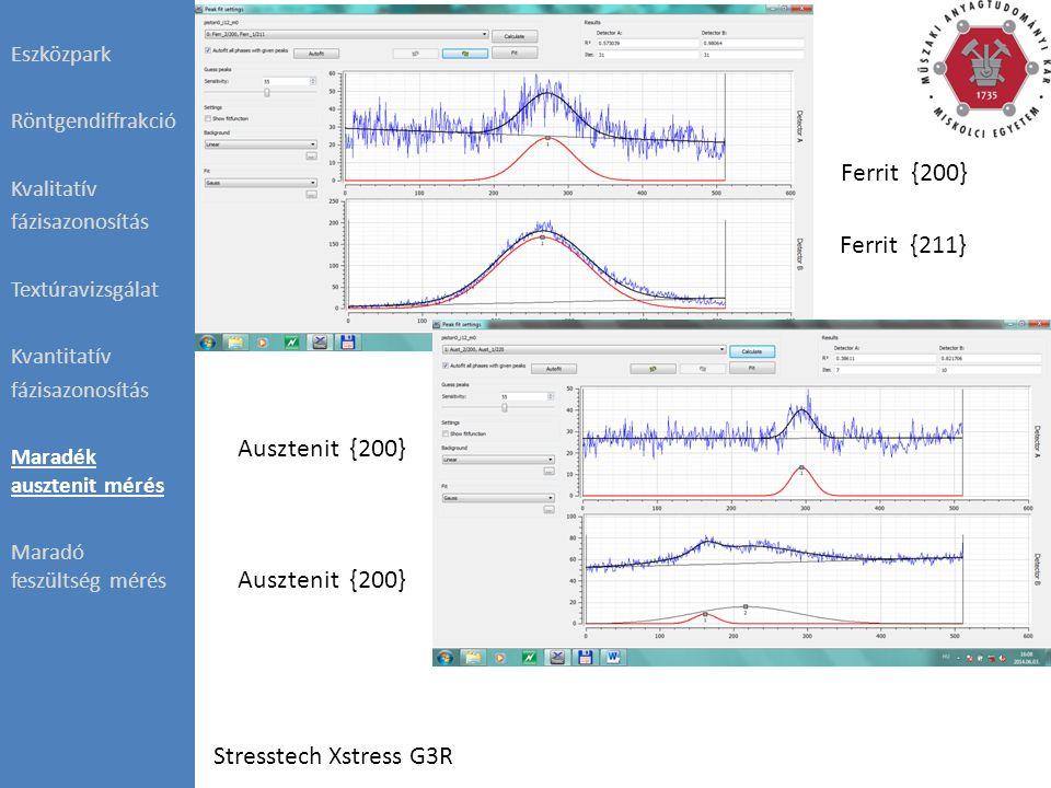 Ferrit {200} Ferrit {211} Ausztenit {200} Stresstech Xstress G3R Eszközpark Röntgendiffrakció Kvalitatív fázisazonosítás Textúravizsgálat Kvantitatív fázisazonosítás Maradék ausztenit mérés Maradó feszültség mérés