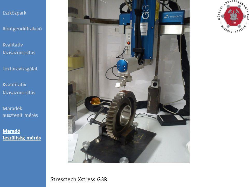 Stresstech Xstress G3R Eszközpark Röntgendiffrakció Kvalitatív fázisazonosítás Textúravizsgálat Kvantitatív fázisazonosítás Maradék ausztenit mérés Maradó feszültség mérés