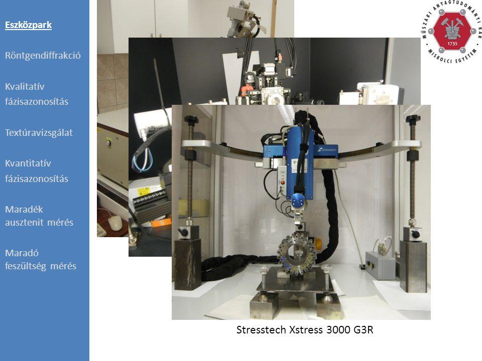 Eszközpark Röntgendiffrakció Kvalitatív fázisazonosítás Textúravizsgálat Kvantitatív fázisazonosítás Maradék ausztenit mérés Maradó feszültség mérés Philips PW1830 Bruker D8 Advance Stresstech Xstress 3000 G3R
