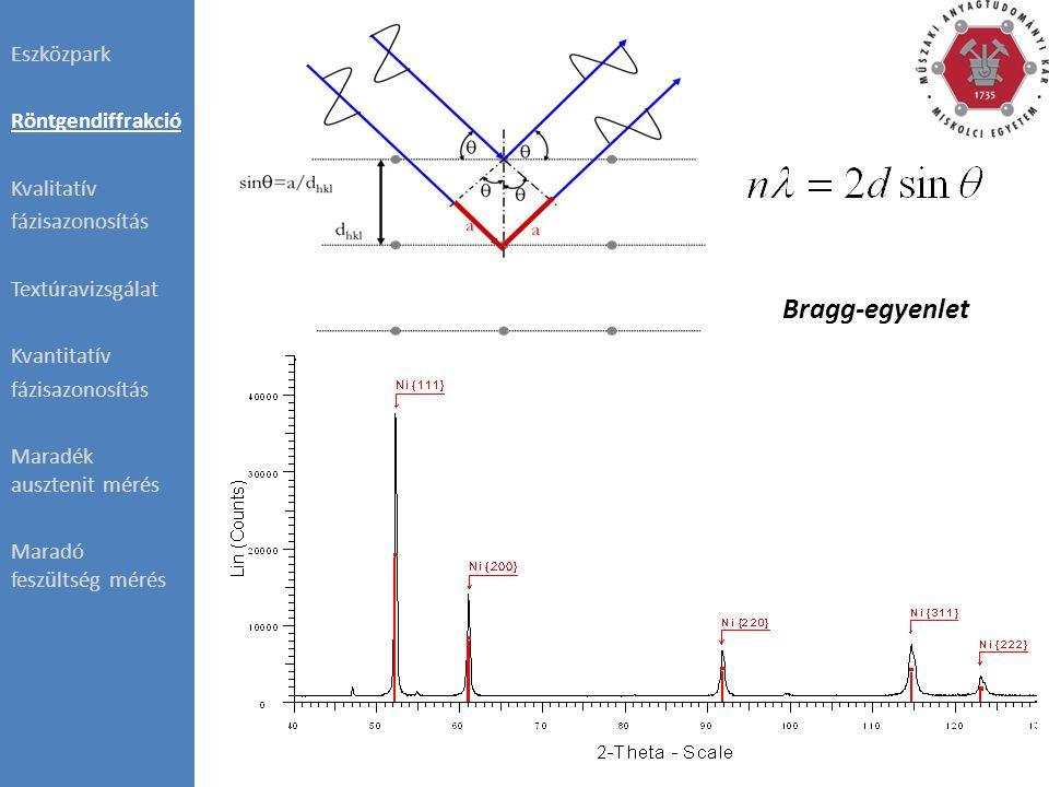 ODF:  Minden elemi cella orientációja  Adott irányokba álló elemi cellák V/V%-a Eszközpark Röntgendiffrakció Kvalitatív fázisazonosítás Textúravizsgálat Kvantitatív fázisazonosítás Maradék ausztenit mérés Maradó feszültség mérés Bruker D8 Advance
