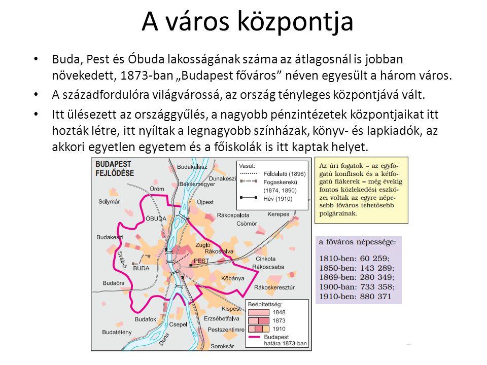 """A város központja Buda, Pest és Óbuda lakosságának száma az átlagosnál is jobban növekedett, 1873-ban """"Budapest főváros"""" néven egyesült a három város."""