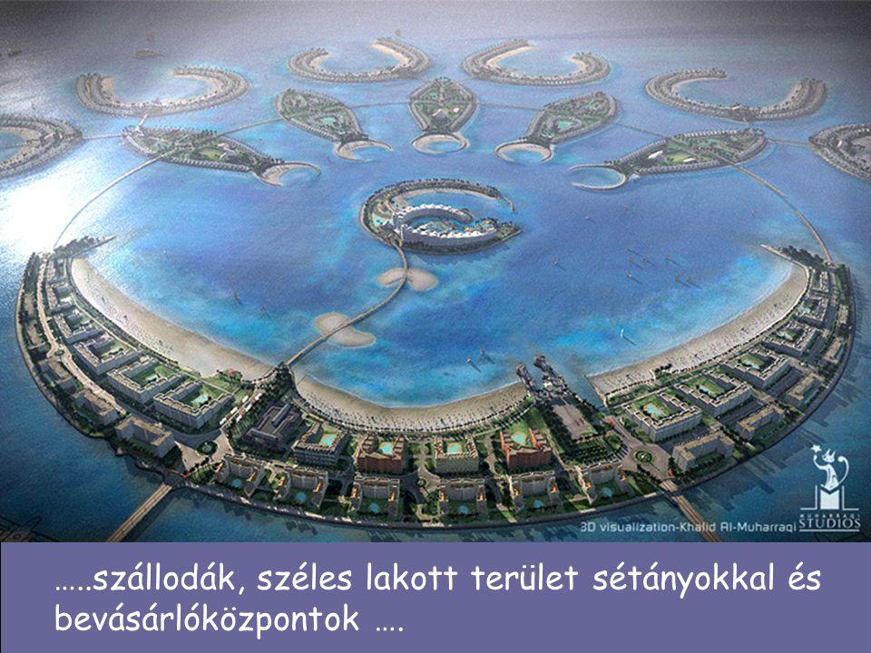 …..szállodák, széles lakott terület sétányokkal és bevásárlóközpontok ….
