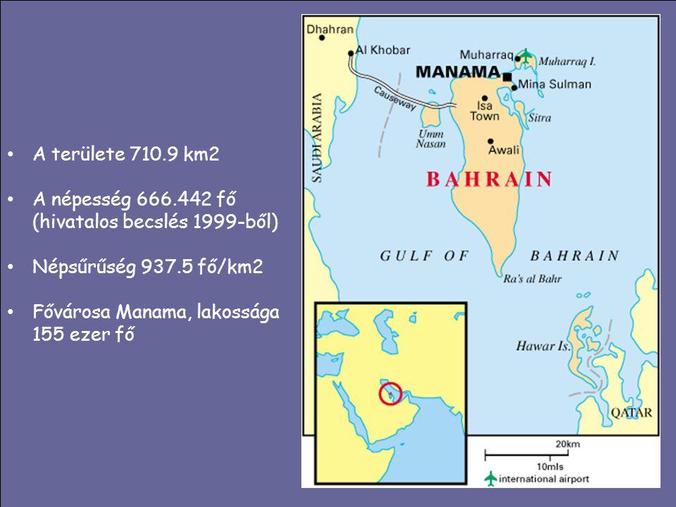 A területe 710.9 km2 A népesség 666.442 fő (hivatalos becslés 1999-ből) Népsűrűség 937.5 fő/km2 Fővárosa Manama, lakossága 155 ezer fő