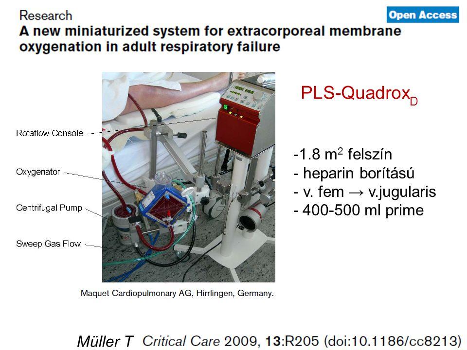 Müller T PLS-Quadrox D -1.8 m 2 felszín - heparin borítású - v. fem → v.jugularis - 400-500 ml prime