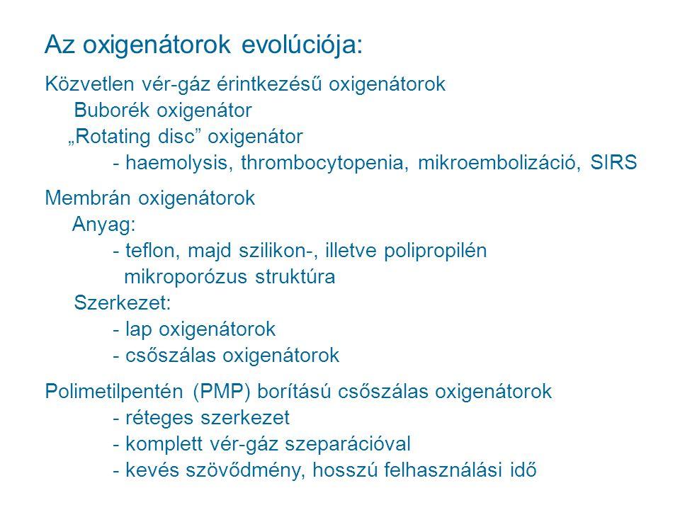 """Az oxigenátorok evolúciója: Közvetlen vér-gáz érintkezésű oxigenátorok Buborék oxigenátor """"Rotating disc"""" oxigenátor - haemolysis, thrombocytopenia, m"""
