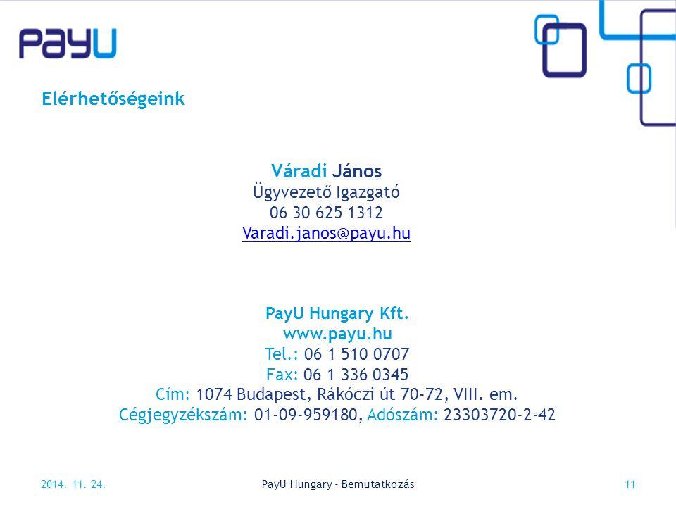 Elérhetőségeink 2014. 11. 24.11PayU Hungary - Bemutatkozás Váradi János Ügyvezető Igazgató 06 30 625 1312 Varadi.janos@payu.hu PayU Hungary Kft. www.p