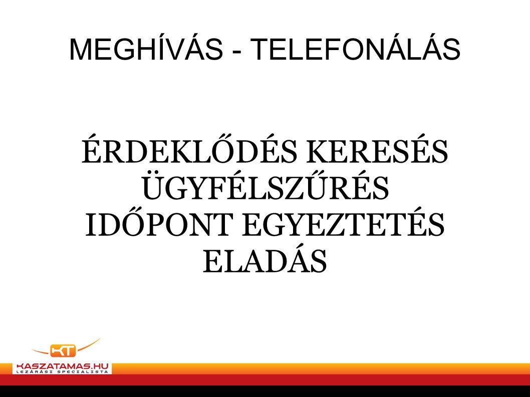 MEGHÍVÁS - TELEFONÁLÁS ÉRDEKLŐDÉS KERESÉS ÜGYFÉLSZŰRÉS IDŐPONT EGYEZTETÉS ELADÁS