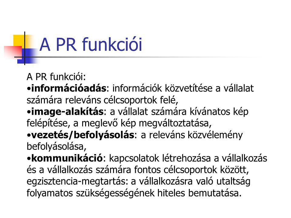 Public Relations A PR célja, hogy a vállalat és közönsége, közvéleménye, illetve szűkebb és tágabb környezete között megértést és bizalmat építsen ki