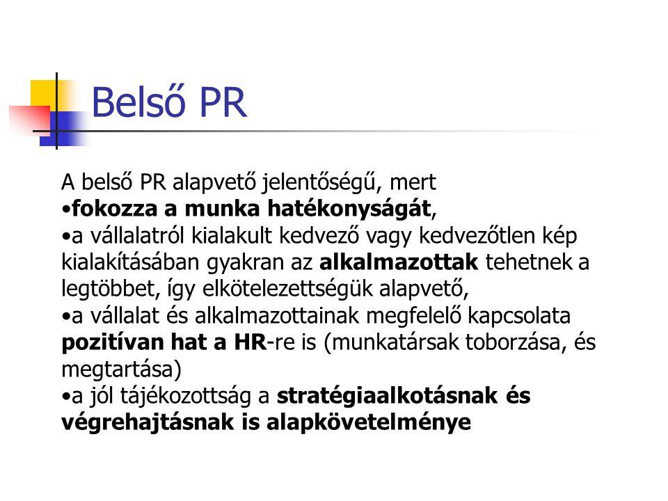 A PR területeinek rendszerezése A kapcsolat szorossága szerint közvetlen (személyes, rendezvény, esemény) és közvetett PR (média) kapcsolatok. A PR ir