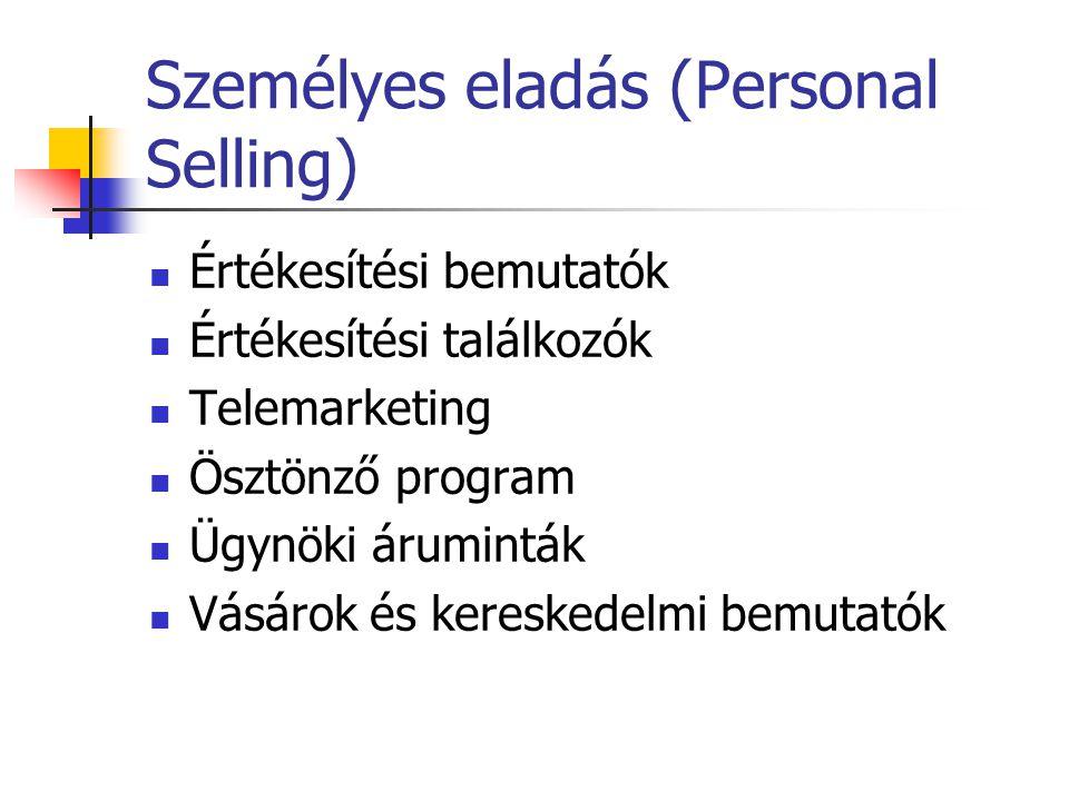 Eladásösztönzés (Sales Promotion) Ösztönző eszközök (versenyek, utazások, bonus, díjak, hirdetési támogatás, ingyenes minták, költség átvállalás) Árra
