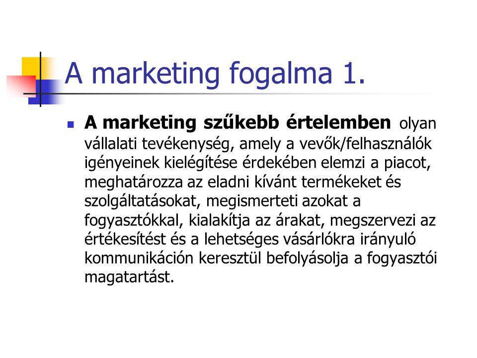 A marketing fogalma A marketing társadalmi és vezetési lépések láncolata, melynek során az egyének és csoportok termékeket és értékeket alkotnak és cs