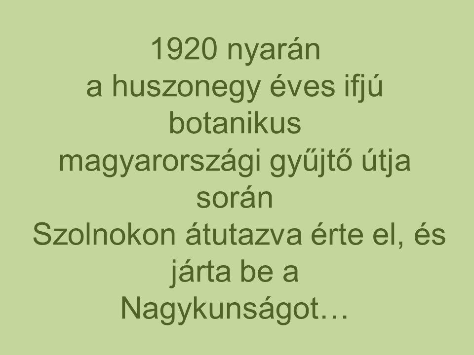 1920 nyarán a huszonegy éves ifjú botanikus magyarországi gyűjtő útja során Szolnokon átutazva érte el, és járta be a Nagykunságot…