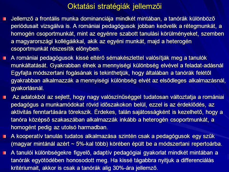 Oktatási stratégiák jellemzői Jellemző a frontális munka dominanciája mindkét mintában, jobban kedvelik a rétegmunkát, a homogén csoportmunkát, mint az egyénre szabott tanulási körülményeket, szemben a magyarországi kollégáikkal, akik az egyéni munkát, majd a heterogén csoportmunkát részesítik előnyben.