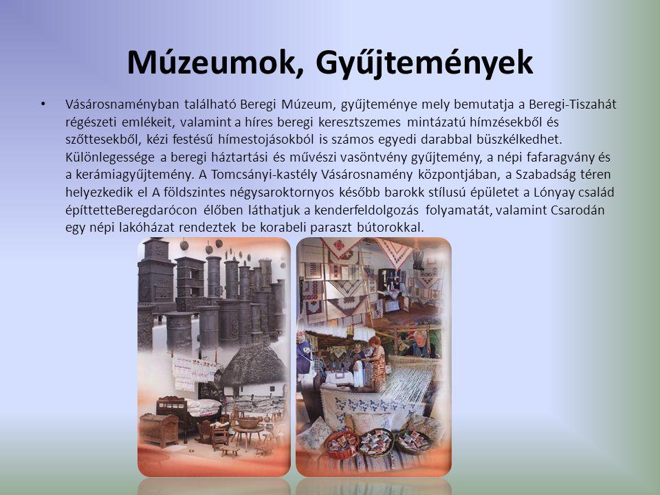 Múzeumok, Gyűjtemények Vásárosnaményban található Beregi Múzeum, gyűjteménye mely bemutatja a Beregi-Tiszahát régészeti emlékeit, valamint a híres beregi keresztszemes mintázatú hímzésekből és szőttesekből, kézi festésű hímestojásokból is számos egyedi darabbal büszkélkedhet.