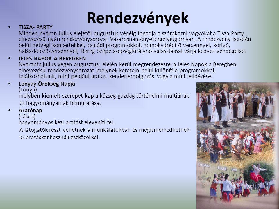Rendezvények TISZA- PARTY Minden nyáron Július elejétől augusztus végéig fogadja a szórakozni vágyókat a Tisza-Party elnevezésű nyári rendezvénysoroza