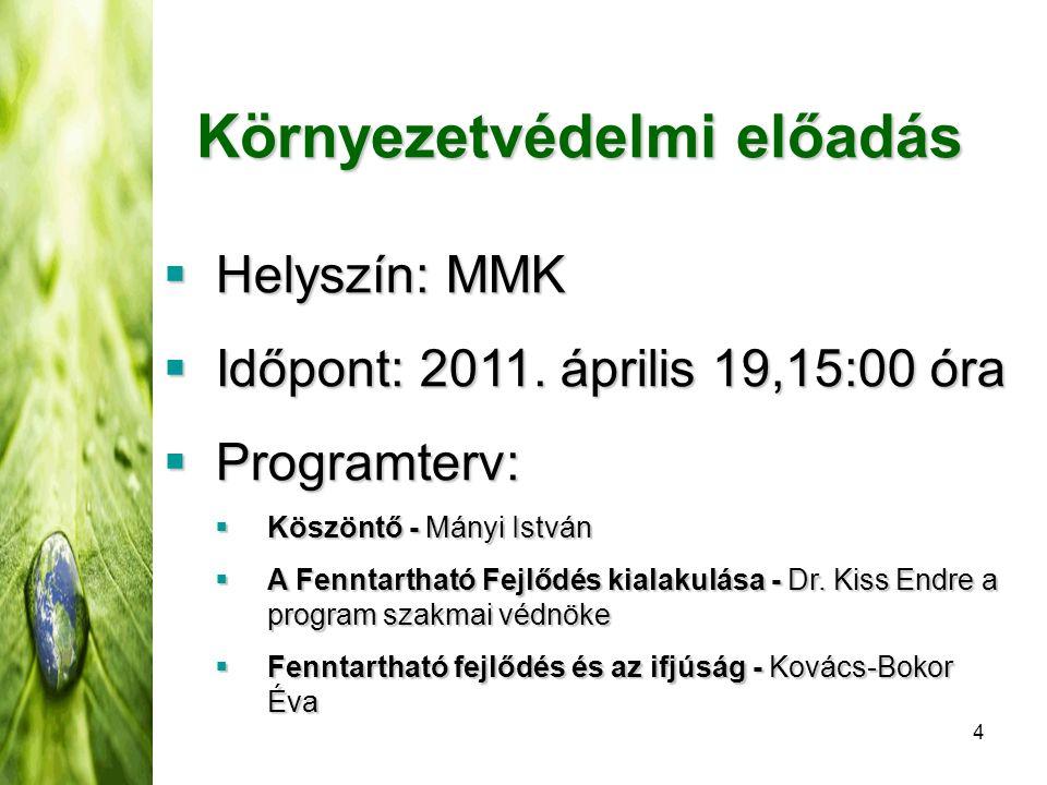 4 Környezetvédelmi előadás  Helyszín: MMK  Időpont: 2011.
