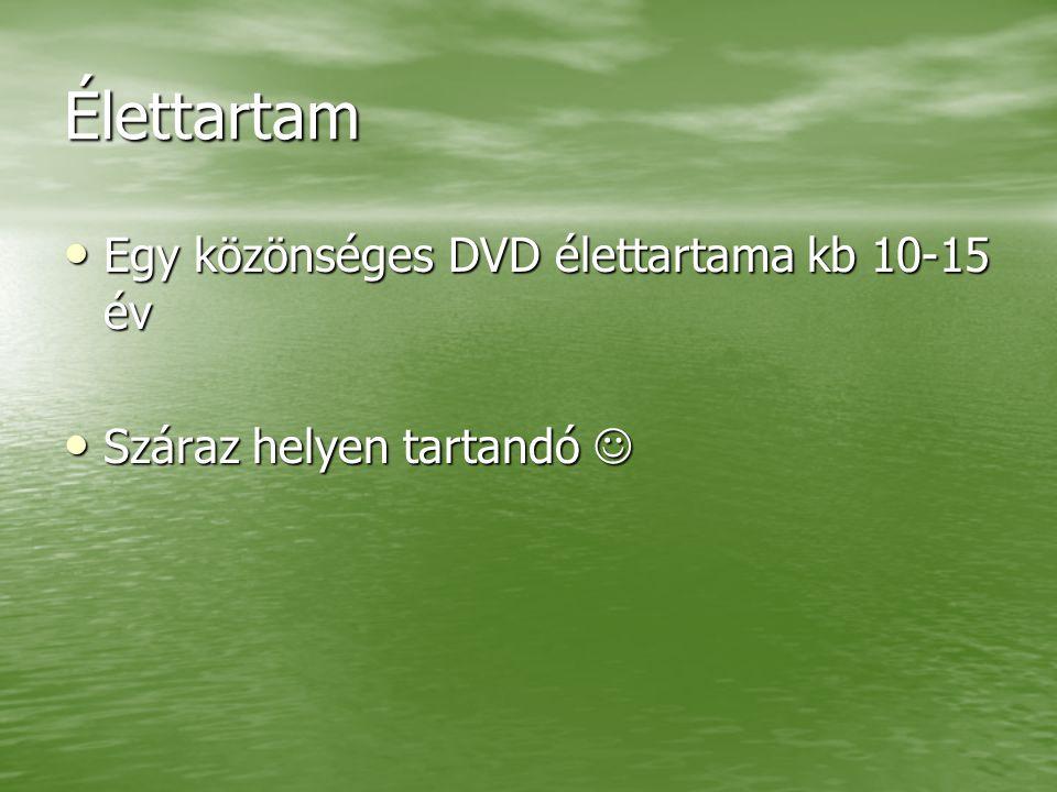 Élettartam Egy közönséges DVD élettartama kb 10-15 év Egy közönséges DVD élettartama kb 10-15 év Száraz helyen tartandó Száraz helyen tartandó
