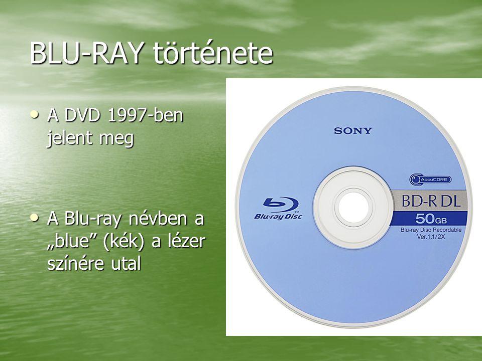 """BLU-RAY története A DVD 1997-ben jelent meg A DVD 1997-ben jelent meg A Blu-ray névben a """"blue (kék) a lézer színére utal A Blu-ray névben a """"blue (kék) a lézer színére utal"""