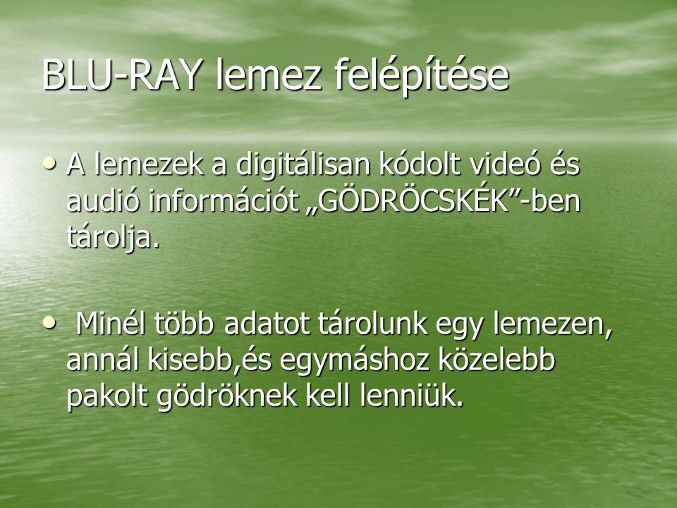 """BLU-RAY lemez felépítése A lemezek a digitálisan kódolt videó és audió információt """"GÖDRÖCSKÉK -ben tárolja."""