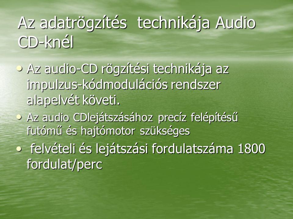 Az adatrögzítés technikája Audio CD-knél Az audio-CD rögzítési technikája az impulzus-kódmodulációs rendszer alapelvét követi.