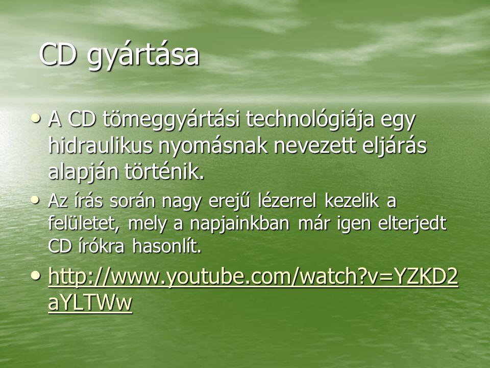CD gyártása A CD tömeggyártási technológiája egy hidraulikus nyomásnak nevezett eljárás alapján történik.