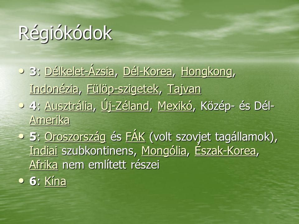 Régiókódok 3: Délkelet-Ázsia, Dél-Korea, Hongkong, Indonézia, Fülöp-szigetek, Tajvan 3: Délkelet-Ázsia, Dél-Korea, Hongkong, Indonézia, Fülöp-szigetek, TajvanDélkelet-ÁzsiaDél-KoreaHongkong IndonéziaFülöp-szigetekTajvanDélkelet-ÁzsiaDél-KoreaHongkong IndonéziaFülöp-szigetekTajvan 4: Ausztrália, Új-Zéland, Mexikó, Közép- és Dél- Amerika 4: Ausztrália, Új-Zéland, Mexikó, Közép- és Dél- AmerikaAusztráliaÚj-ZélandMexikó AmerikaAusztráliaÚj-ZélandMexikó Amerika 5: Oroszország és FÁK (volt szovjet tagállamok), Indiai szubkontinens, Mongólia, Észak-Korea, Afrika nem említett részei 5: Oroszország és FÁK (volt szovjet tagállamok), Indiai szubkontinens, Mongólia, Észak-Korea, Afrika nem említett részeiOroszországFÁK IndiaiMongóliaÉszak-Korea AfrikaOroszországFÁK IndiaiMongóliaÉszak-Korea Afrika 6: Kína 6: KínaKína