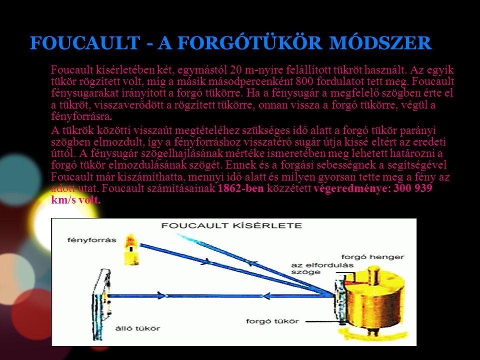 FOUCAULT - A FORGÓTÜKÖR MÓDSZER Foucault kísérletében két, egymástól 20 m-nyire felállított tükröt használt. Az egyik tükör rögzített volt, míg a mási