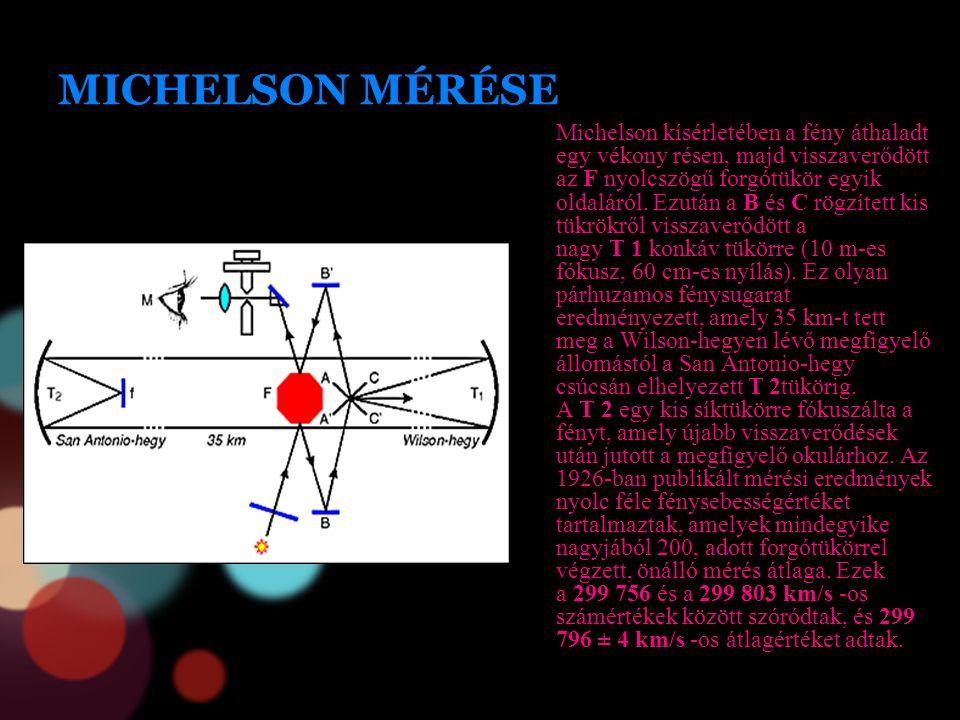 MICHELSON MÉRÉSE Michelson kísérletében a fény áthaladt egy vékony résen, majd visszaverődött az F nyolcszögű forgótükör egyik oldaláról. Ezután a B é