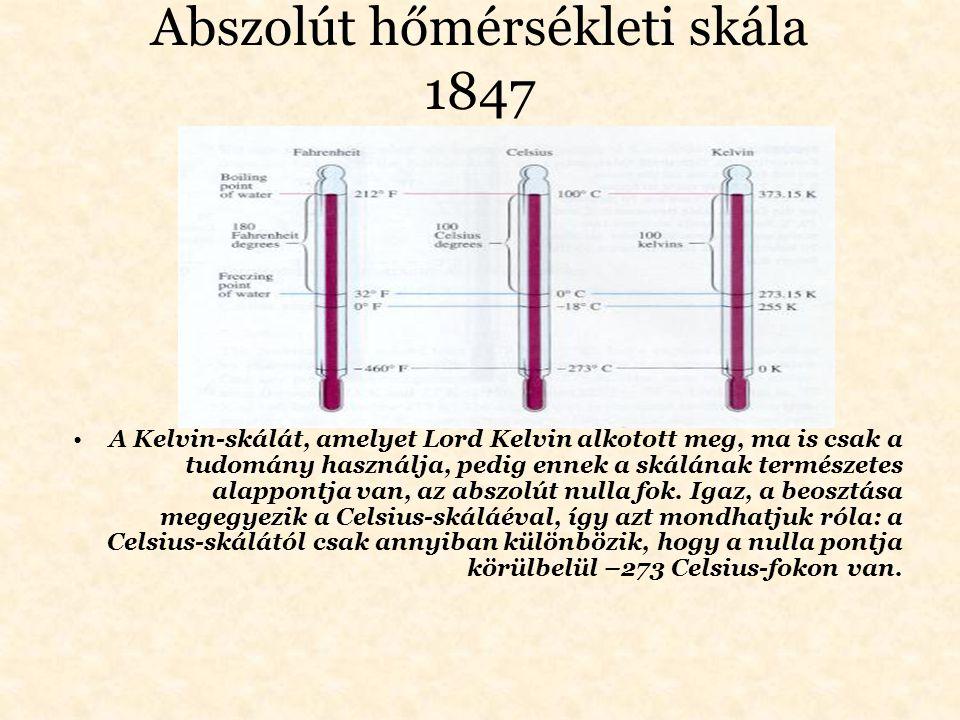 Abszolút hőmérsékleti skála 1847 A Kelvin-skálát, amelyet Lord Kelvin alkotott meg, ma is csak a tudomány használja, pedig ennek a skálának természete