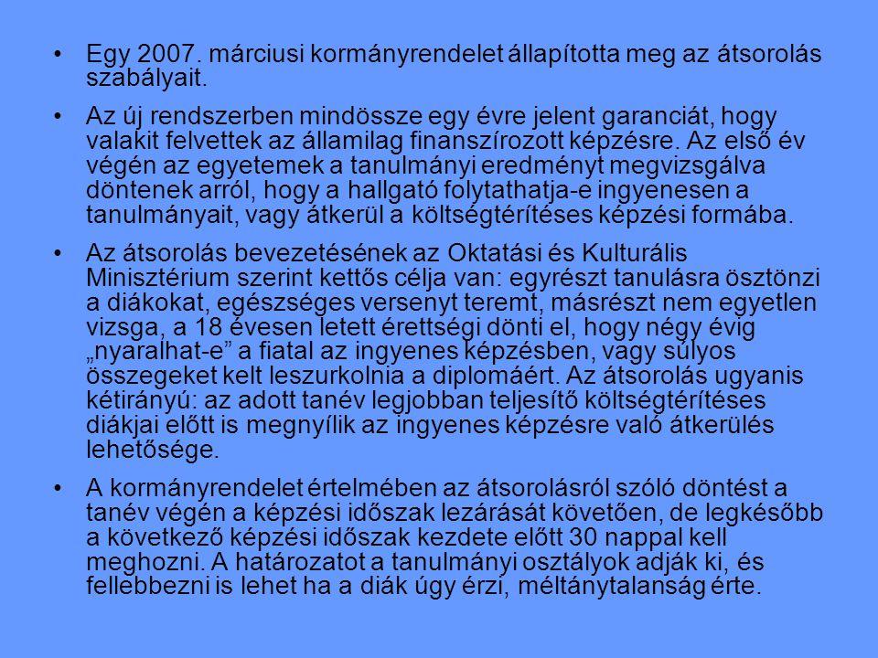 Egy 2007. márciusi kormányrendelet állapította meg az átsorolás szabályait.
