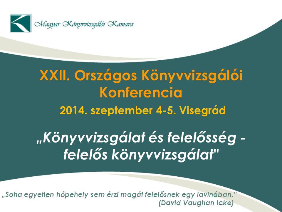 """XXII. Országos Könyvvizsgálói Konferencia 2014. szeptember 4-5. Visegrád """"Könyvvizsgálat és felelősség - felelős könyvvizsgálat"""