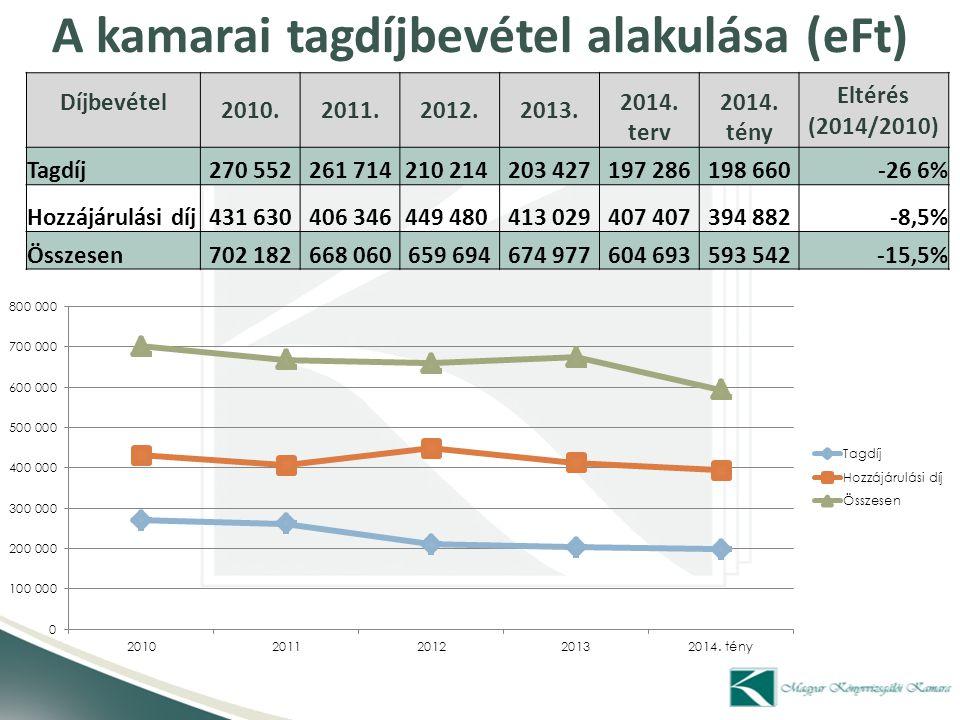 Könyvvizsgálatból származó bevételek (mFt) Könyvvizsgálati bevétel/Megoszlás2010201120122013Index Big4 (36,7 – 41,4%) 13 105 12 940 13 241 13 151 0,4% Top 5-25 (8,4 – 9%) 2 829 2 986 2 860 2 830 0,0% Többi társaság (41,4 – 38%) 13 923 13 317 12 081 11 870 -14,7% Egyéni vállalkozók/tagok (13,4 - 11,6%) 4 484 4 777 3 590 3 613 -19,4%