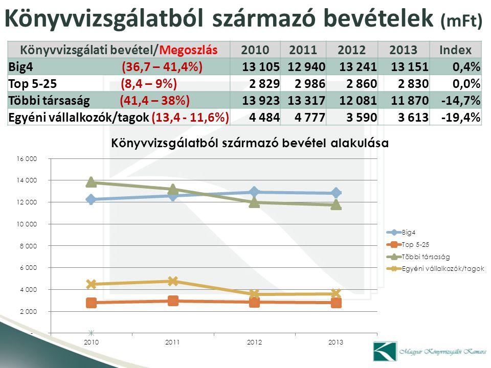 Könyvvizsgálatból származó bevételek (mFt) Könyvvizsgálati bevétel/Megoszlás2010201120122013Index Big4 (36,7 – 41,4%) 13 105 12 940 13 241 13 151 0,4%