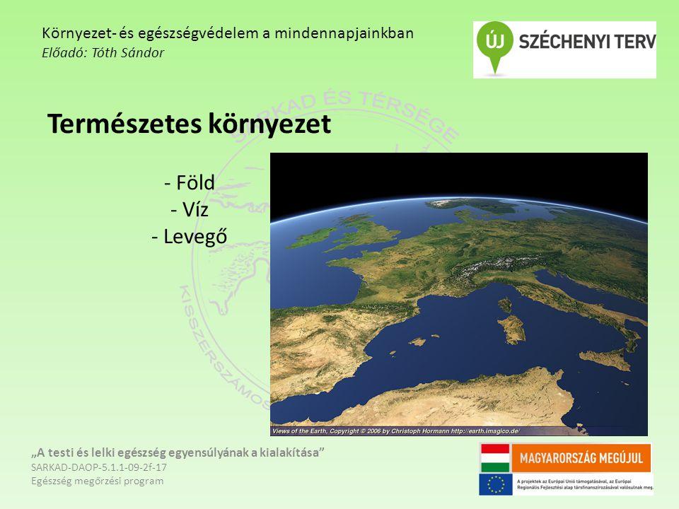 """Természetes környezet - Föld - Víz - Levegő """"A testi és lelki egészség egyensúlyának a kialakítása"""" SARKAD-DAOP-5.1.1-09-2f-17 Egészség megőrzési prog"""