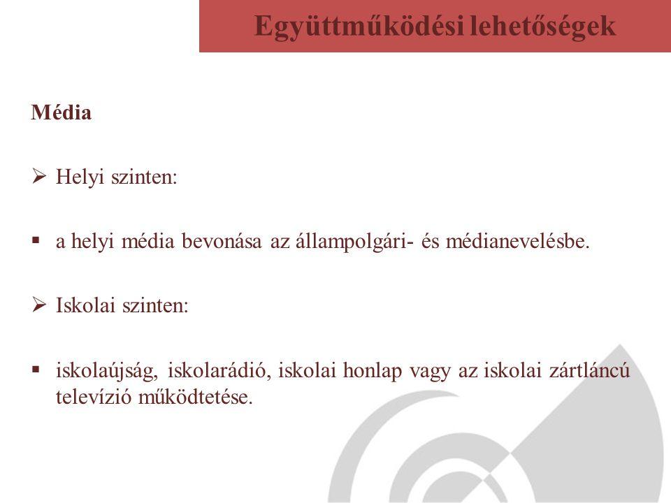 Média  Helyi szinten:  a helyi média bevonása az állampolgári- és médianevelésbe.  Iskolai szinten:  iskolaújság, iskolarádió, iskolai honlap vagy