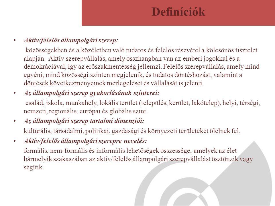 Definíciók Aktív/felelős állampolgári szerep: közösségekben és a közéletben való tudatos és felelős részvétel a kölcsönös tisztelet alapján.