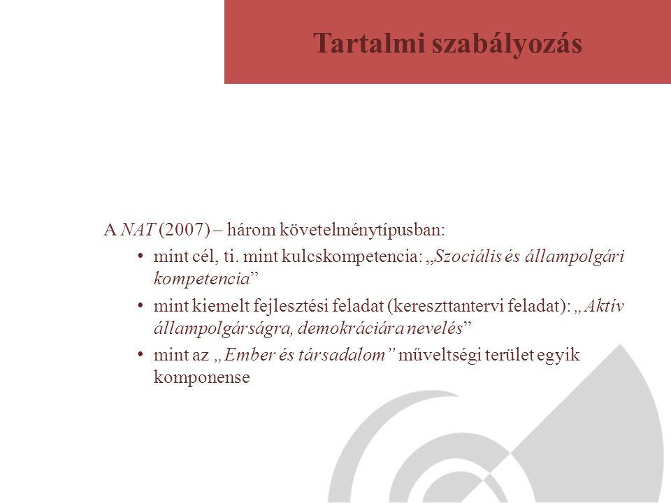 """A NAT (2007) – három követelménytípusban: mint cél, ti. mint kulcskompetencia: """"Szociális és állampolgári kompetencia"""" mint kiemelt fejlesztési felada"""