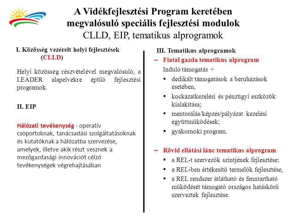 A Vidékfejlesztési Program keretében megvalósuló speciális fejlesztési modulok CLLD, EIP, tematikus alprogramok I. Közösség vezérelt helyi fejlesztése